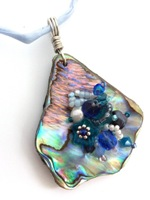 Embelllished Paua Pendant - Blues on pale blue silk string