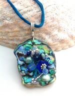 Embelllished Paua Pendant - Blues and Teals on deep teal silk string