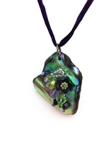 Embelllished Paua Pendant - Purples and Lime greens on dark purple silk string