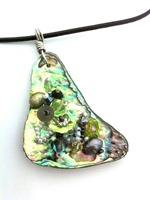 Embelllished Paua Pendant - Greys and Lime Green on black leather cord