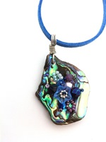 Embelllished Paua Pendant - Blues and Purples on blue suedette lace cord