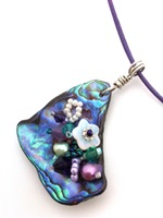 Embelllished Paua Pendant - Purples and Emeralds on pale lilac leather cord