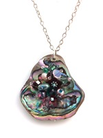 Embelllished Paua Pendant - Deep Pinks and  Teals on chain