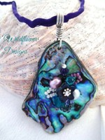 Embelllished Paua Pendant - Purple/Green on smooth silk cord