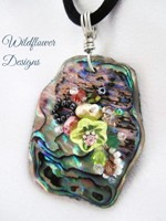 Embelllished Paua Pendant - Peaches/Lime on satin Rattail Cord