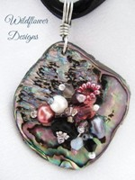 Embelllished Paua Pendant - Blacks and Pinks on organza and cord