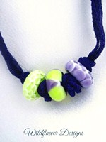 Purple/Lime on Purple Silk Fairy Ribbon