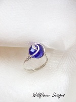 Blue Crystal Wrapped Ring