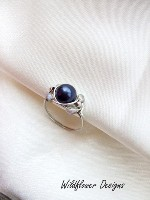 Purple Pearl Crystal Wrap Ring