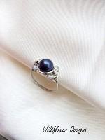Purple Pearl Crystal Wrap Ring
