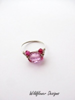 Pink Crystal Wrap Ring