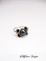 Dark Green Pearl Crystal Wrap Ring