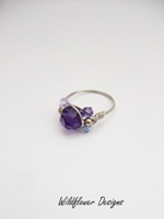 Purple Crystal Wrap Ring