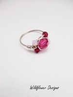 Hot Pink Crystal Wrap Ring
