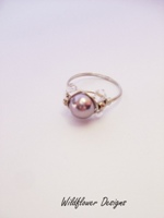 Mauve Pearl Crystal Wrap Ring