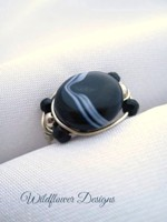 Brazilian Black Onyx Coin Wrap Ring