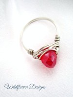Red Crystal Messy Wrap Ring