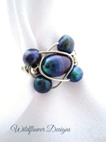 Peacock Freshwater Pearl Wrap Ring