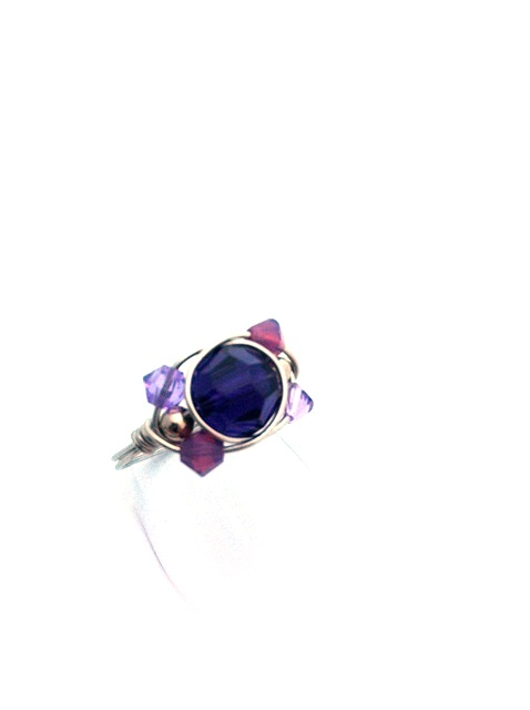 Purple Velvet Crystal Wrap Ring