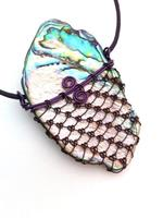 Laced Paua Purple wire on Purple leather cord