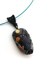 Lampwork Black /Yellow/Teal