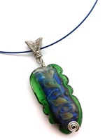 Lampwork Green/Blue with silver wire woven bail on blue neck wire