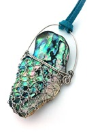 Laced Paua with teal suede cord