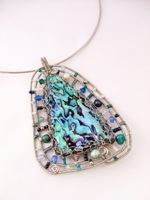 Wired Paua Embellished Pendant Blues and Teals