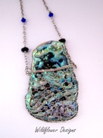 Laced Paua Pendant Blues