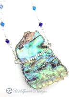Laced Paua Pendant - blues
