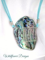 Knitted Paua Pendant