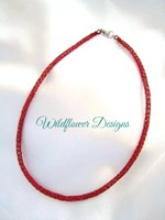 Red Knit Tube Necklace