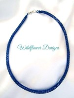 Blue Knit Tube Necklace