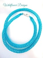 Turquoise Knit Tube Necklace