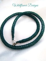 Deep Teal Knit Tube Necklace