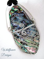 Laced Paua - smaller, kete on black cord