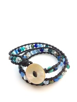 Leather Double Wrap Bracelet Blue and Teal