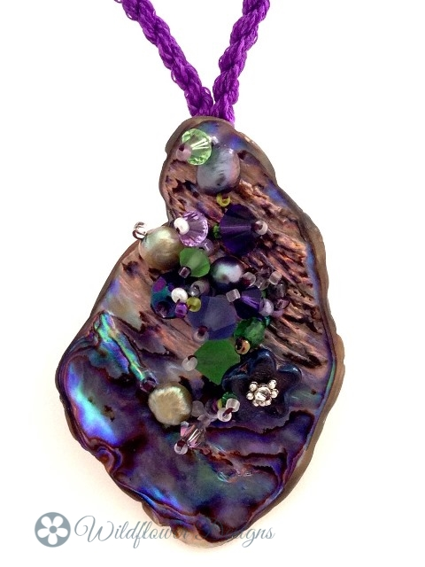 Embelllished Paua Pendant - Purples and Greens