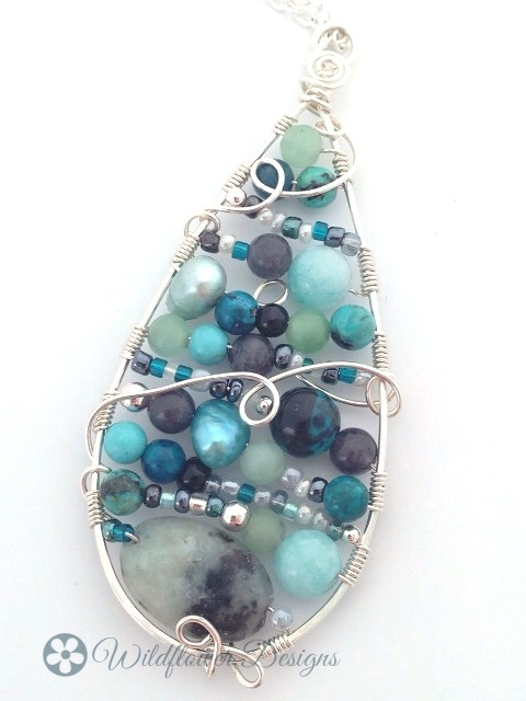 Tear drop Mosiac w Amazonite