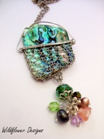 Laced Paua Necklace with Dangle