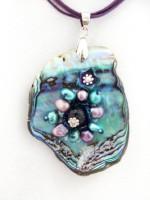 Embellished Paua Pendant Purple/Teals
