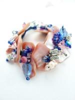 Embellished Mussel Bracelet Pinks and Blues