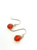 Indian Red Crystal Wrap Earrings