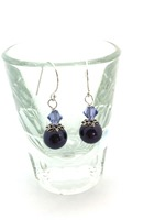 Swarovski Purple Pearl w mid purple crystal bicone on sterling silver hooks