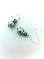 Swarovski Light Grey Pearl w Erinite Crystal Bicones