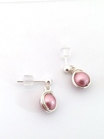#E576 Wrapped Swarovski Pearl Earrings - variety of colours
