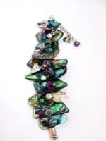 Embellished Paua Bracelet Purples/Greens