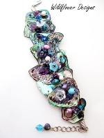Embellished Paua Bracelet Purples and Aquas