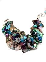 Embellished Paua Bracelet Amethyst and Aqua