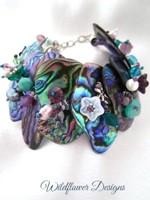 Embellished Paua Bracelet Purples and Greens